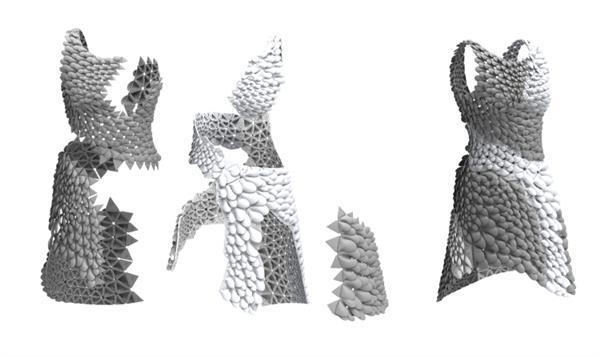 3D printed Kinetic Petal Dress